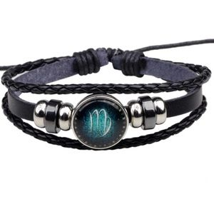 Leather Virgo Zodiac Sign Unisex Bracelet NEW